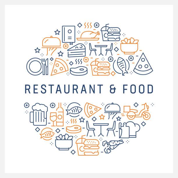 レストラン、食品のコンセプト - カラフルなラインのアイコンは、サークルの配置 - 高級料理点のイラスト素材/クリップアート素材/マンガ素材/アイコン素材