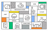 Restaurant and Food Concept. Geometric Retro Style Banner and Poster Concept with Restaurant and Food Line Icons
