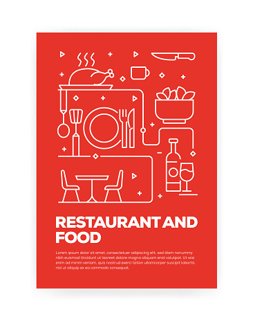 Restaurant and Food Concept Line Style Cover Design for Annual Report, Flyer, Brochure.