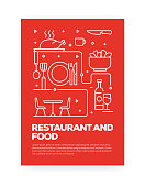 istock Restaurant and Food Concept Line Style Cover Design for Annual Report, Flyer, Brochure. 1129837828