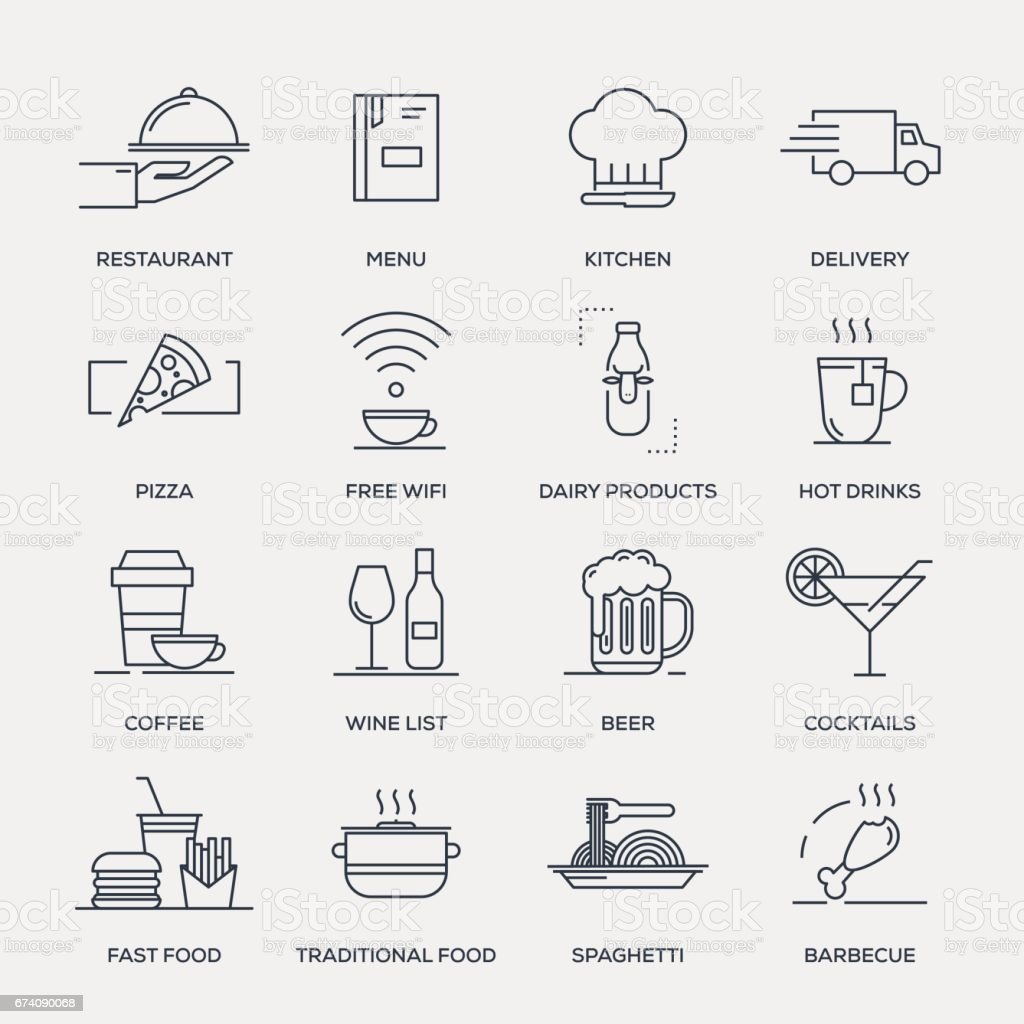Restaurant and Food Icon Set - Line Series