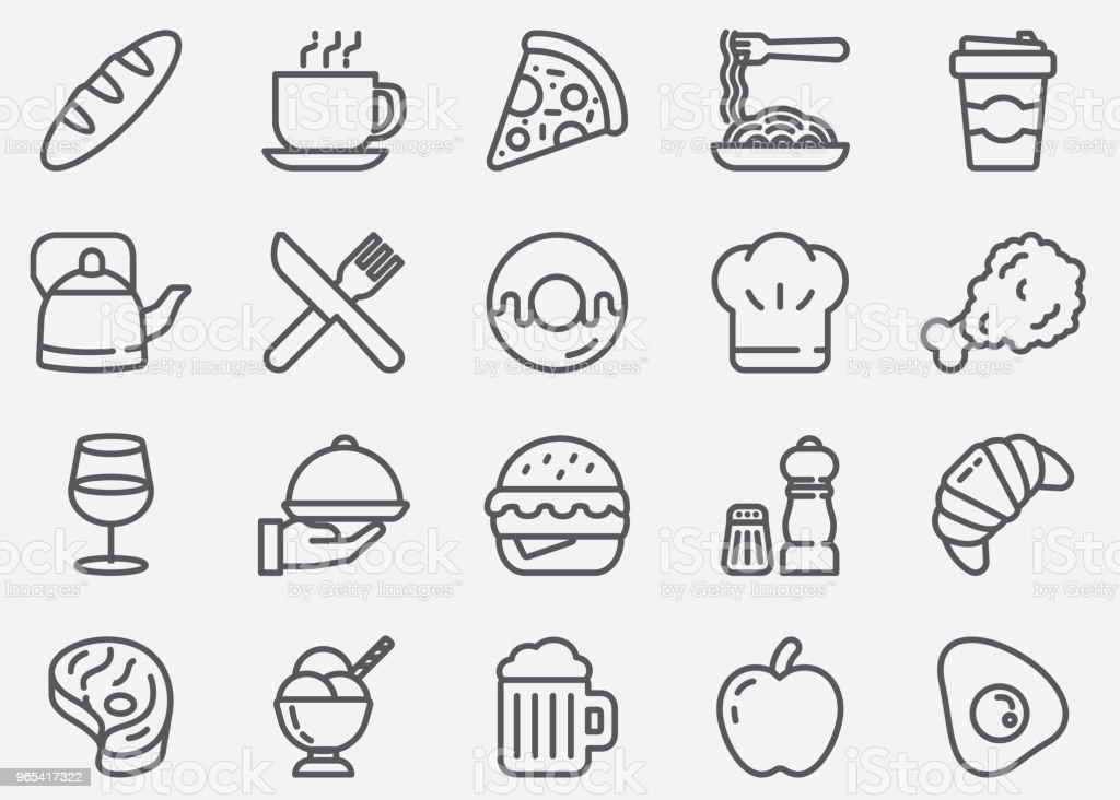 Restaurant und Essen Linie Symbole - Lizenzfrei Alkoholisches Getränk Vektorgrafik