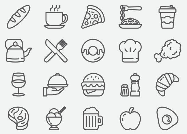 illustrazioni stock, clip art, cartoni animati e icone di tendenza di restaurant and food line icons - cena