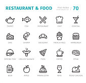 Restaurant and Food - 20 Outline Style - Single line icons with captions / Set #70 Designed in 48x48pх square, outline stroke 2px.  First row of outline icons contains: Teapot, Fish, Restaurant, Chef, Cocktail;    Second row contains: Cake, Shrimp, Croissant, French Fries, Hamburger;  Third row contains: Serving Tray, Grilled Sausage, Pizza, Coffee, Steak;  Fourth row contains: Beer, Apple, Panna Cotta, Wine, Roast Chicken.  Complete Signico collection - https://www.istockphoto.com/collaboration/boards/VT_7sDWo80OLh7foVxchBQ