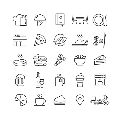 Restaurant and Food Related Vector Line Icons