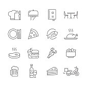 Restaurant and Food - Set of Thin Line Vector Icons
