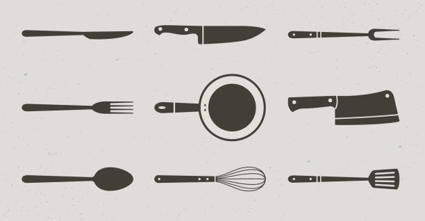 9 Restaurant and Kitchen elements icons. Butcher knives, grill fork and spatula, spoon, fork and knife, meat knife, cleaver, chef, bbq fork, frying pan, whisk. Vector Illustration Vector illustration cooking clipart stock illustrations