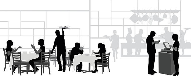 Restaurant And Kitchen A vector silhouette illustration of the goings on of a busy restaurant including female friends laughing over dinner, a waiter carrying a tray of food, a young couple dining, the busy cooks annd sous chefs, and a customer paying the hostess. cooking silhouettes stock illustrations