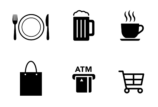 Restaurant and shopping icon set