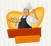 Restaurant banner with fat cartoon chef holding pizza