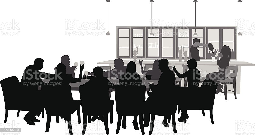 Restaurant Bar Vector Silhouette royalty-free stock vector art