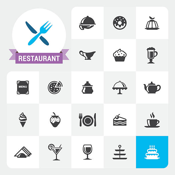 restaurant base vector icons and label - fine dining stock illustrations, clip art, cartoons, & icons