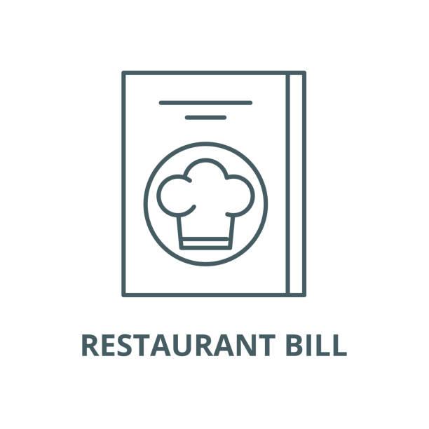 restoran faturası vektör hattı simgesi, doğrusal kavram, anahat işareti, sembol - sale stock illustrations