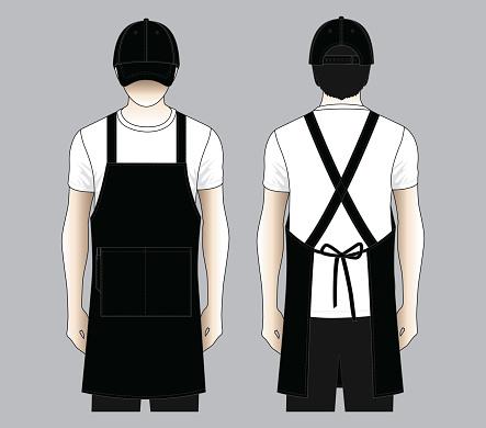 Restaurant Black Uniform Vector (Apron and Baseball Cap)