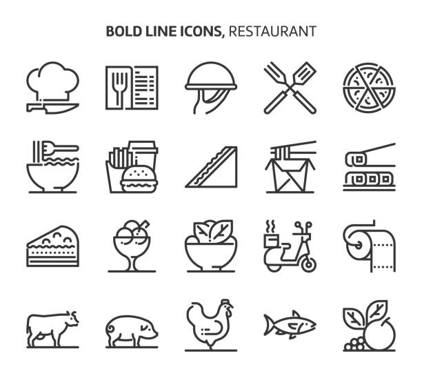 restaurant, bold line icons - junk food stock illustrations, clip art, cartoons, & icons