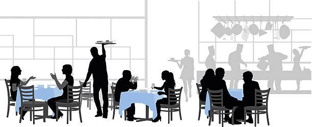 bildbanksillustrationer, clip art samt tecknat material och ikoner med restaurant bonne table - arbeta köksbord man