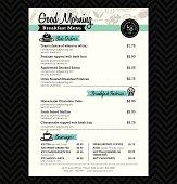 Restaurant Breakfast menu design Template layout
