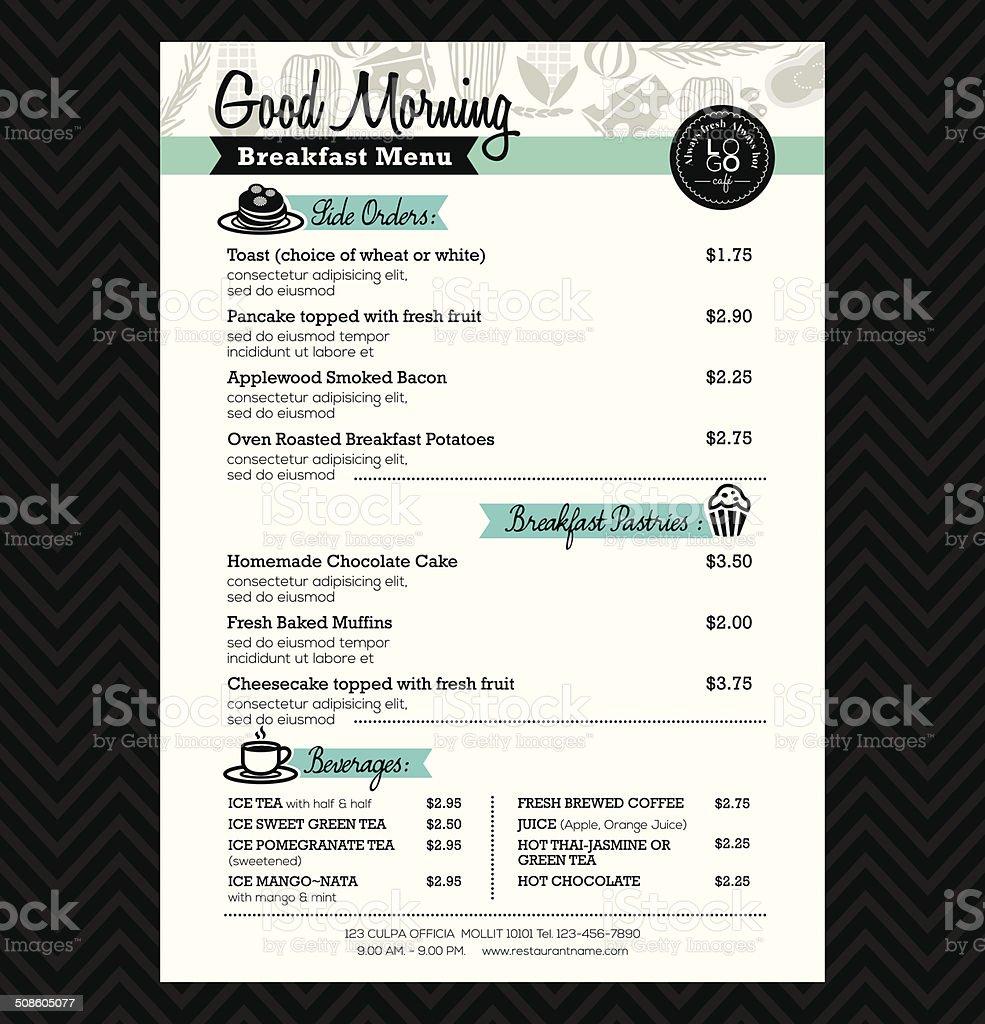 Restaurant Breakfast menu design Template layout vector art illustration