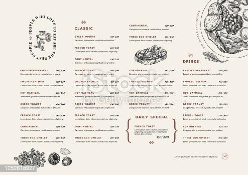 istock Restaurant breakfast menu template. Cafe identity. Minimalist style. Engraved illustrations. Vector illustration 1252618927
