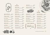 Restaurant breakfast menu template. Cafe identity. Minimalist style. Engraved illustrations.