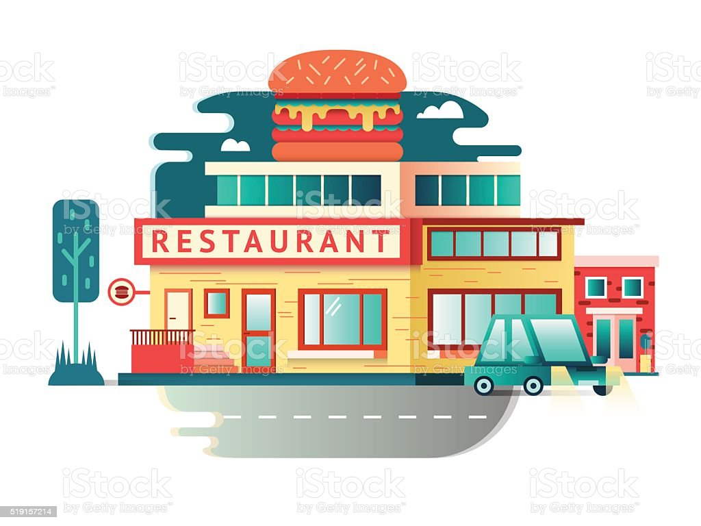 Restaurant Building Flat Design Stock Illustration Download Image Now Istock