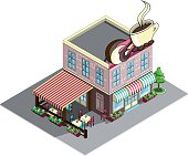 Restaurant building or Coffee house Isometric.