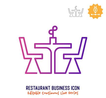 Restaurant Business Continuous Line Editable Stroke Line
