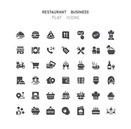 42 Restaurant Business Flat Icons