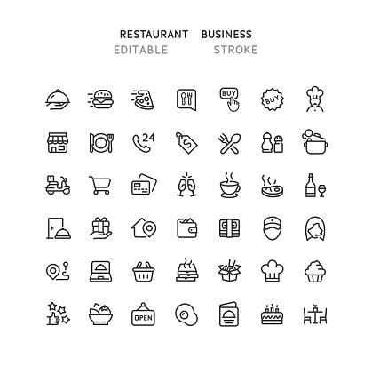 42 Restaurant Business Line Icons Editable Stroke