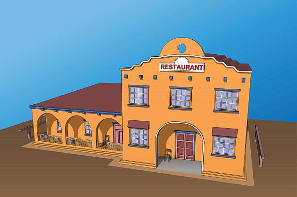 restaurant café gebäude köstliche mexikanischen speisen - küchensystem stock-grafiken, -clipart, -cartoons und -symbole
