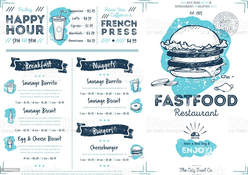 Restaurant cafe fast food menu template - ilustración de arte vectorial