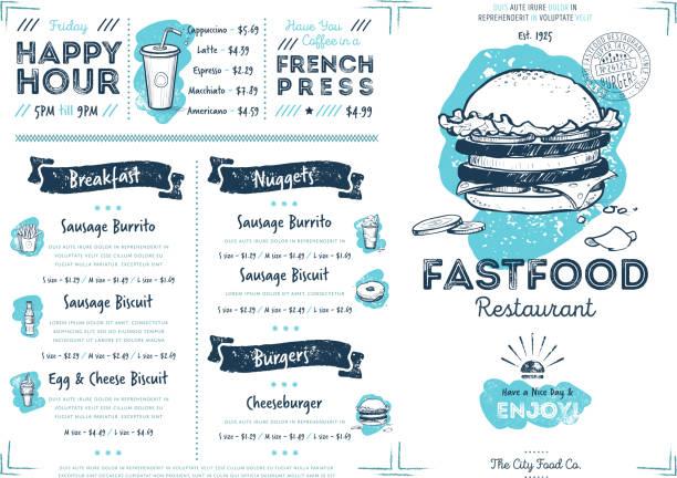 Restaurant cafe fast food menu template vector art illustration