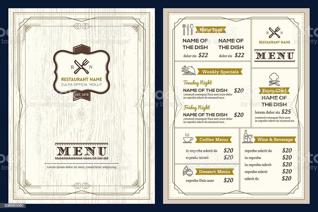 Restaurant cafe menu design template with vintage retro for Artistic cuisine menu