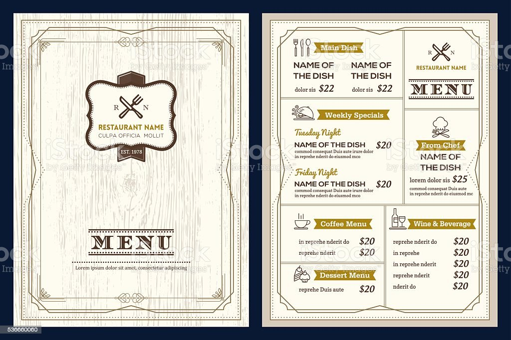 Restaurant cafe menu design template with vintage retro frame border vector art illustration
