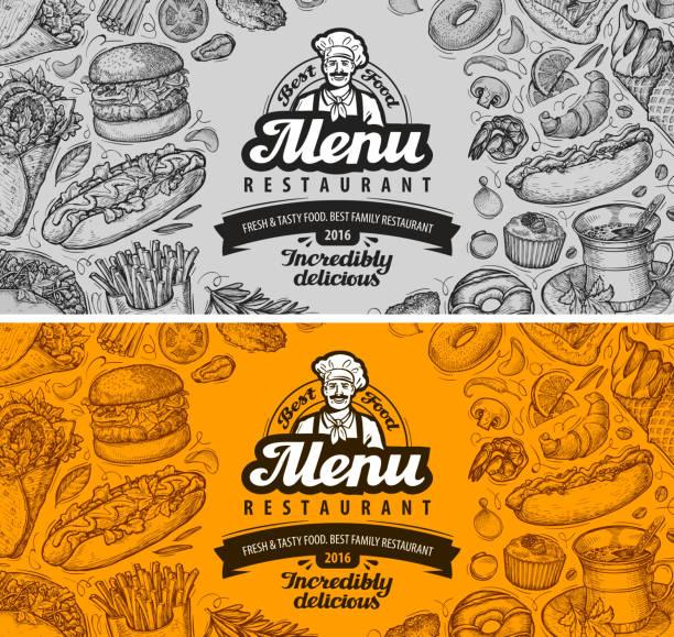 ilustrações, clipart, desenhos animados e ícones de restaurante café menu de modelo projeto. desenho de comida - delicatessen