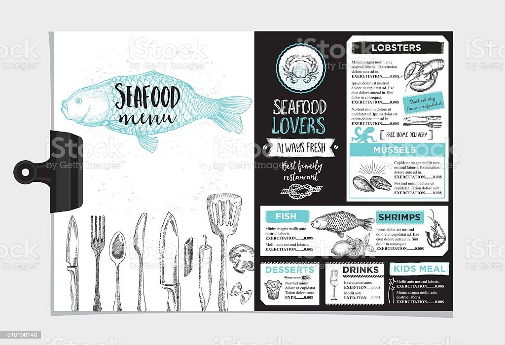 Restaurant cafe menu, template design. vector art illustration