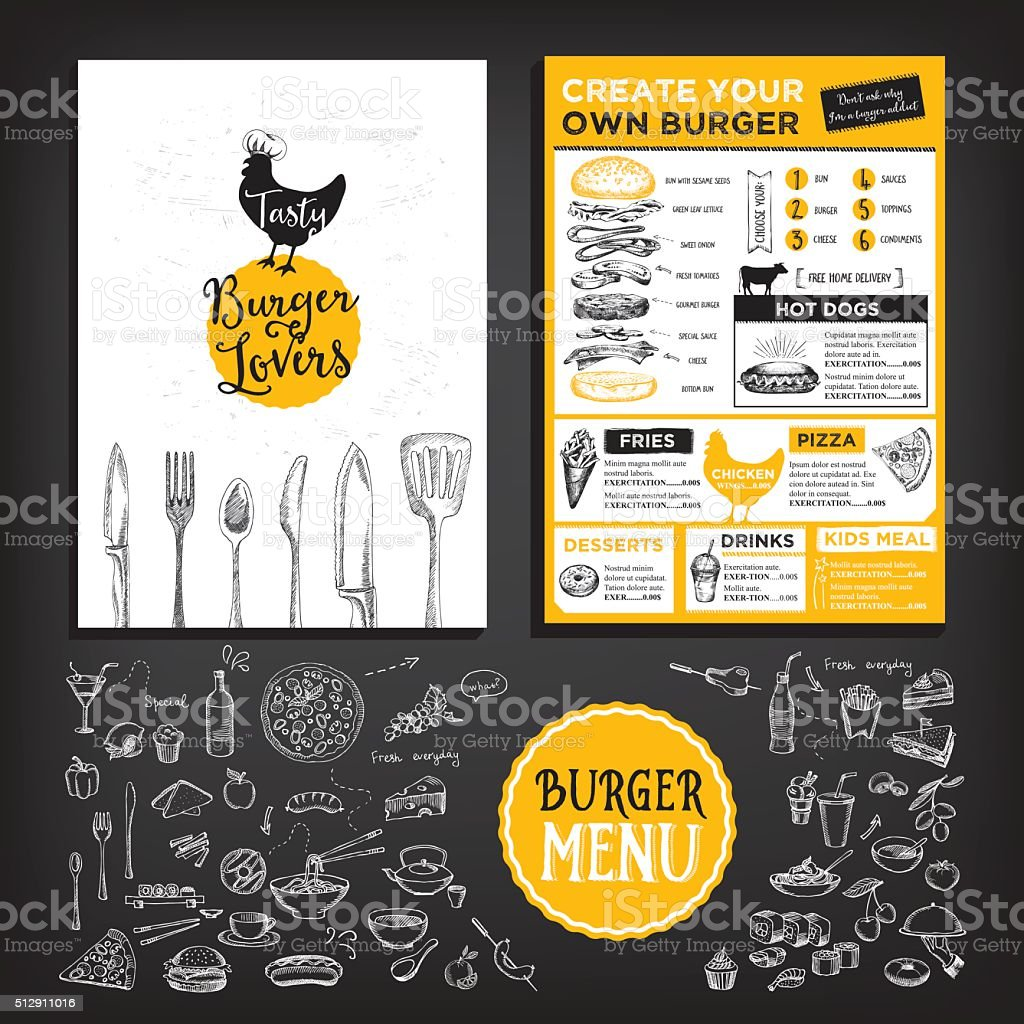 Restaurant Café menu, modèle design. - Illustration vectorielle