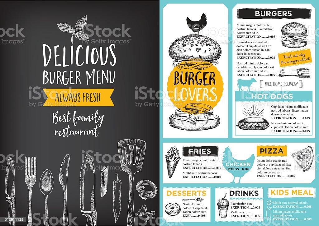 Menú del restaurante Café plantilla de diseño. - ilustración de arte vectorial