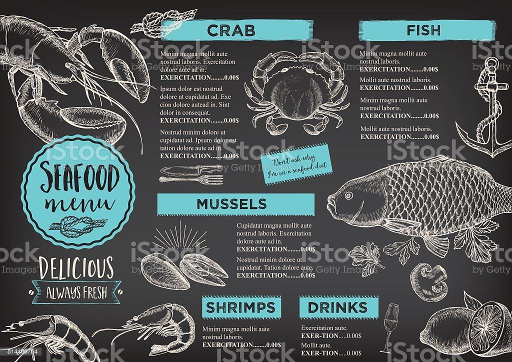 Menú Del Restaurante Café Plantilla De Diseño - Arte vectorial de ...
