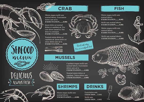 ilustraciones, imágenes clip art, dibujos animados e iconos de stock de menú del restaurante café plantilla de diseño. - pescado y mariscos