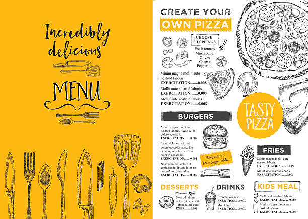 restaurant cafe menu, template design. - fine dining stock illustrations, clip art, cartoons, & icons