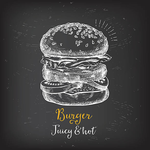 restaurant cafe menu, template design. - burgers stock illustrations, clip art, cartoons, & icons