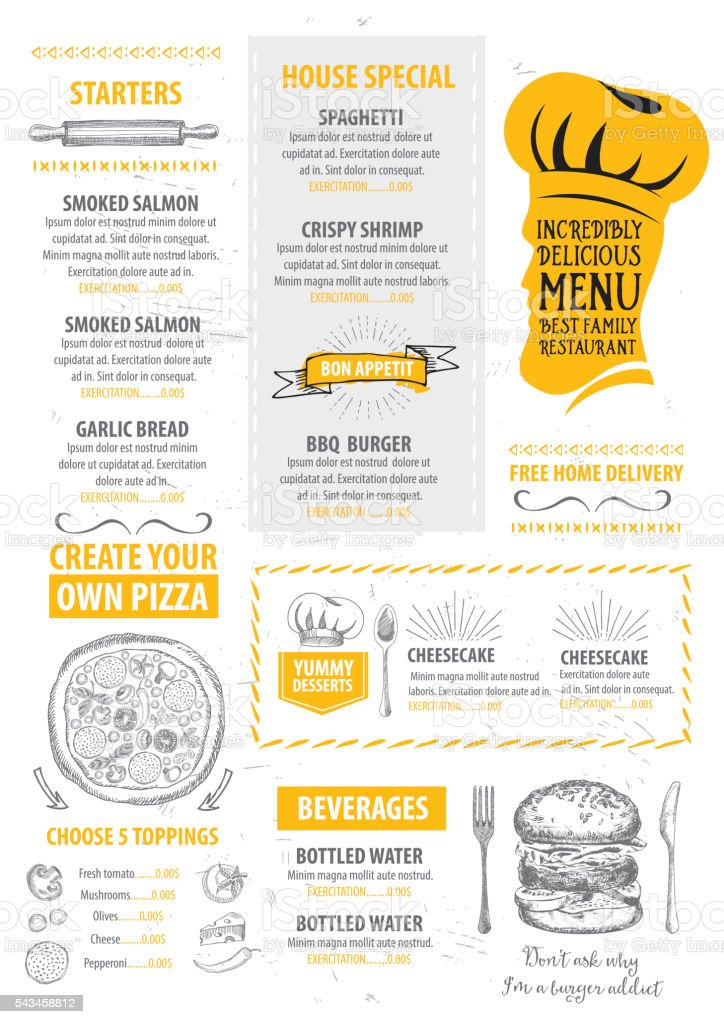 Restaurant Cafe Menu, Template Design. Royalty Free Stock Vector Art