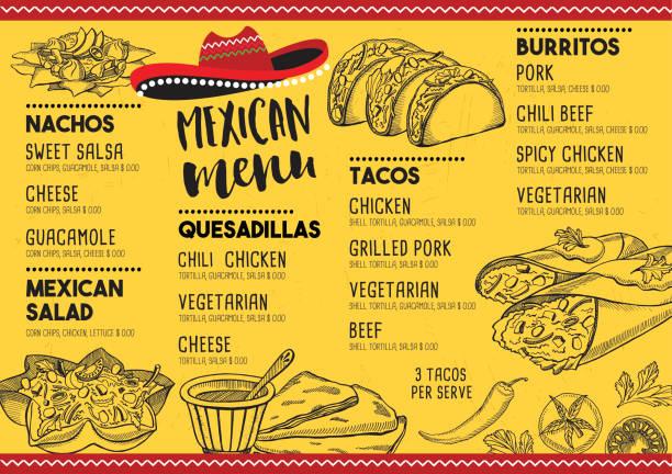 restaurant cafe menu, template design. - mexican food stock illustrations, clip art, cartoons, & icons