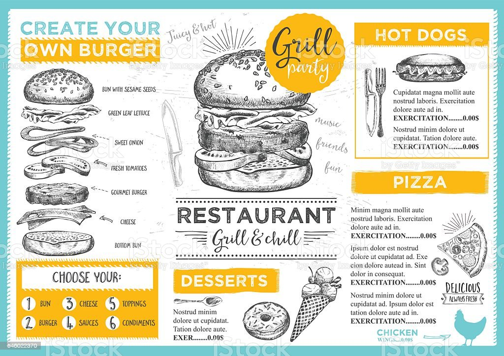 Restaurant Café menu, modèle design. - Illustration vectorielle