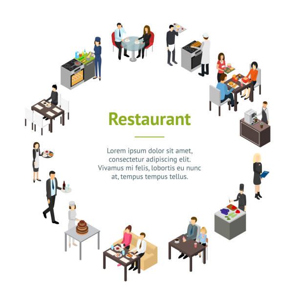 restaurant cafe oder bar personal menschen banner karte kreis isometrische 3d-ansicht. vektor - gewerbliche küche stock-grafiken, -clipart, -cartoons und -symbole