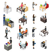 Restaurant Cafe or Bar Personnel People 3d Icons Set Isometric View. Vector illustration of Professional Staff Icons