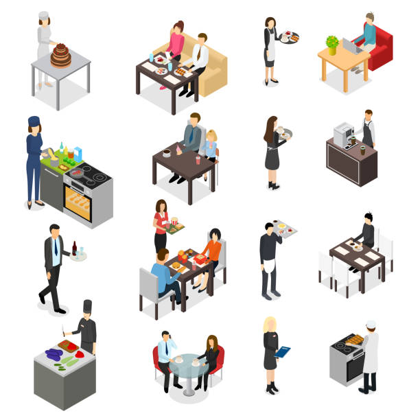 restauracja cafe lub bar personnel ludzie 3d ikony zestaw izometryczny widok. wektor - bar lokal gastronomiczny stock illustrations
