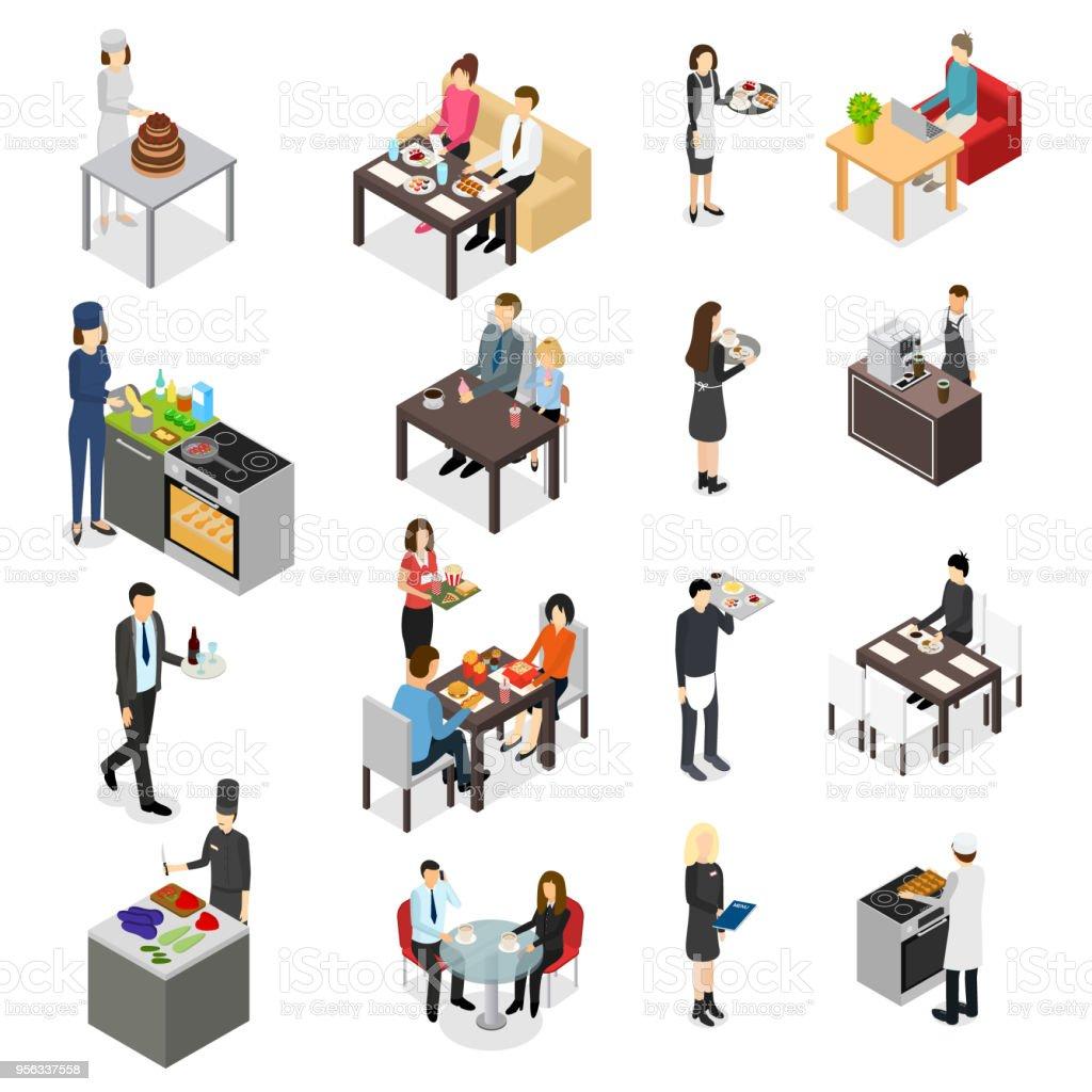 Restaurant Cafe ou Bar Personnel gens Icons Set vue 3d isométrique. Vector - Illustration vectorielle