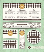 Restaurant cafe sandwich vector menu design template with diamond harlequin pattern background